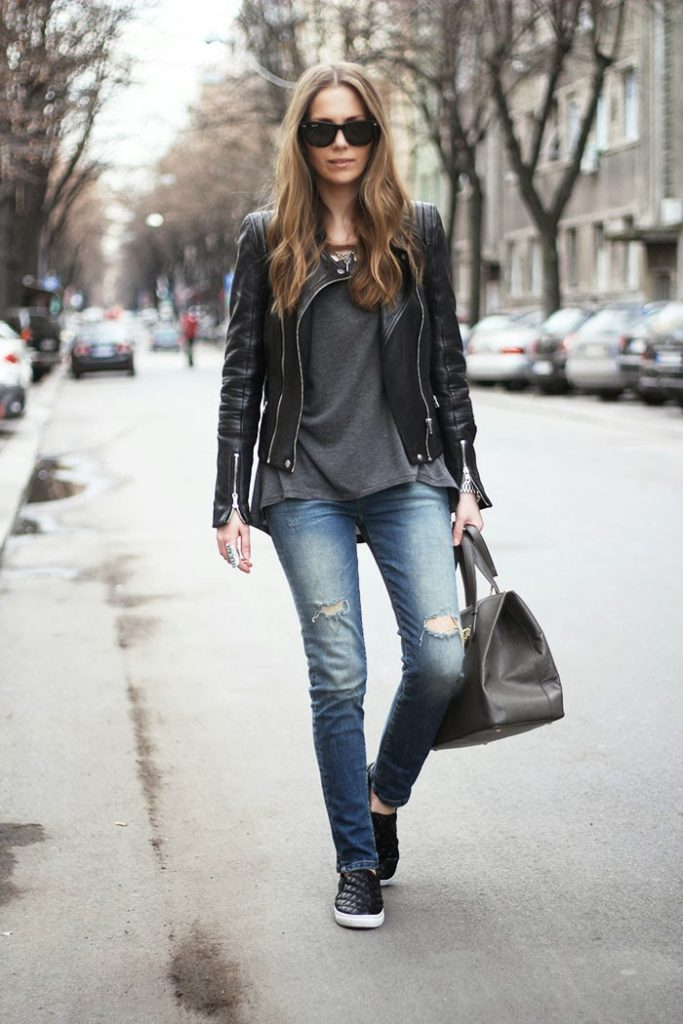 Fashion Blogger Vanja Wearing Black Slip-Ons From H&M, Zara And Jacket Both From Zara And Plain T-Shirt