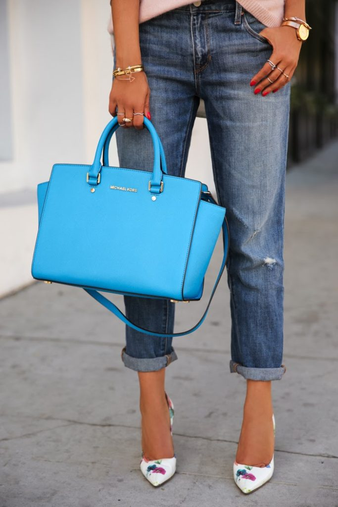 Viva Luxury In Worn Gap 1969 Boyfriend Jeans, Michael Kors Bag, Dolce & Gabbana Floral Print Pumps And Pink Top