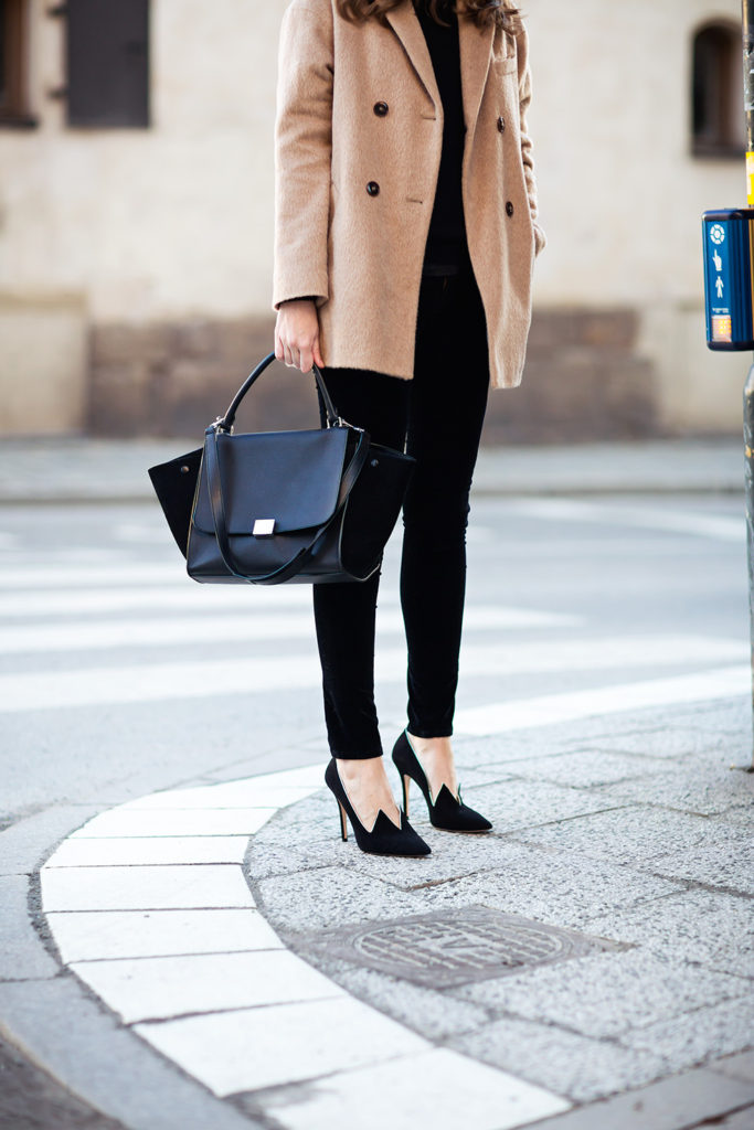 Stockholm Street Style Camel Coat From Filippa K, Bag From Celine Velvet Jeans From Citizens of Humanity Cashmere Knit By  Caroline Blomst And Shoes By Minna Parikka