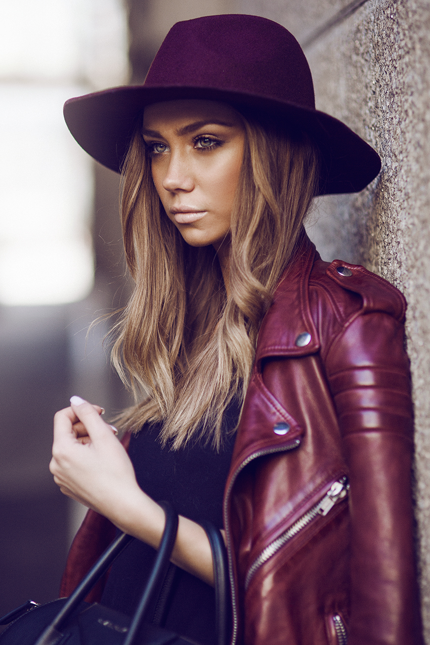 Burgundy Leather Jacket Street Style By Lisa Olsson