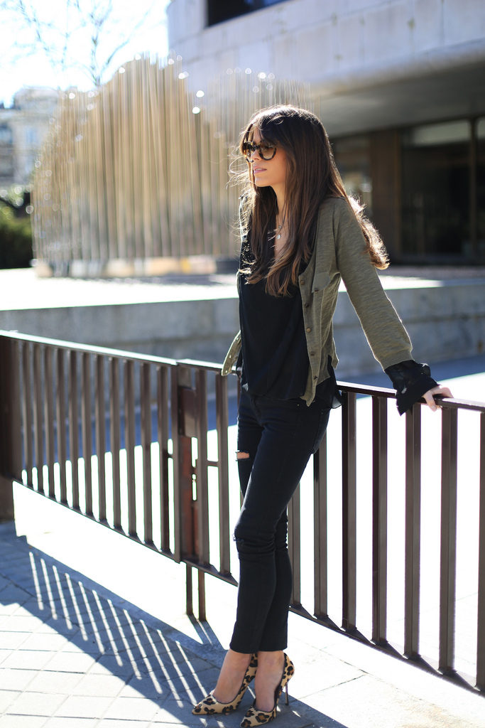 Blouse From Sheinside Zara Jeans And Cardigan And Prada Sunglasses Street Style March 2014 Via Seams For Desire