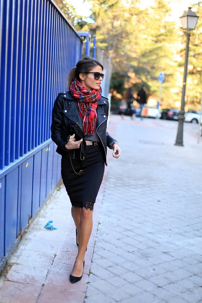 Seams For A Desire Wears A Black Pencil Skirt From And Gina Tricot Scarf