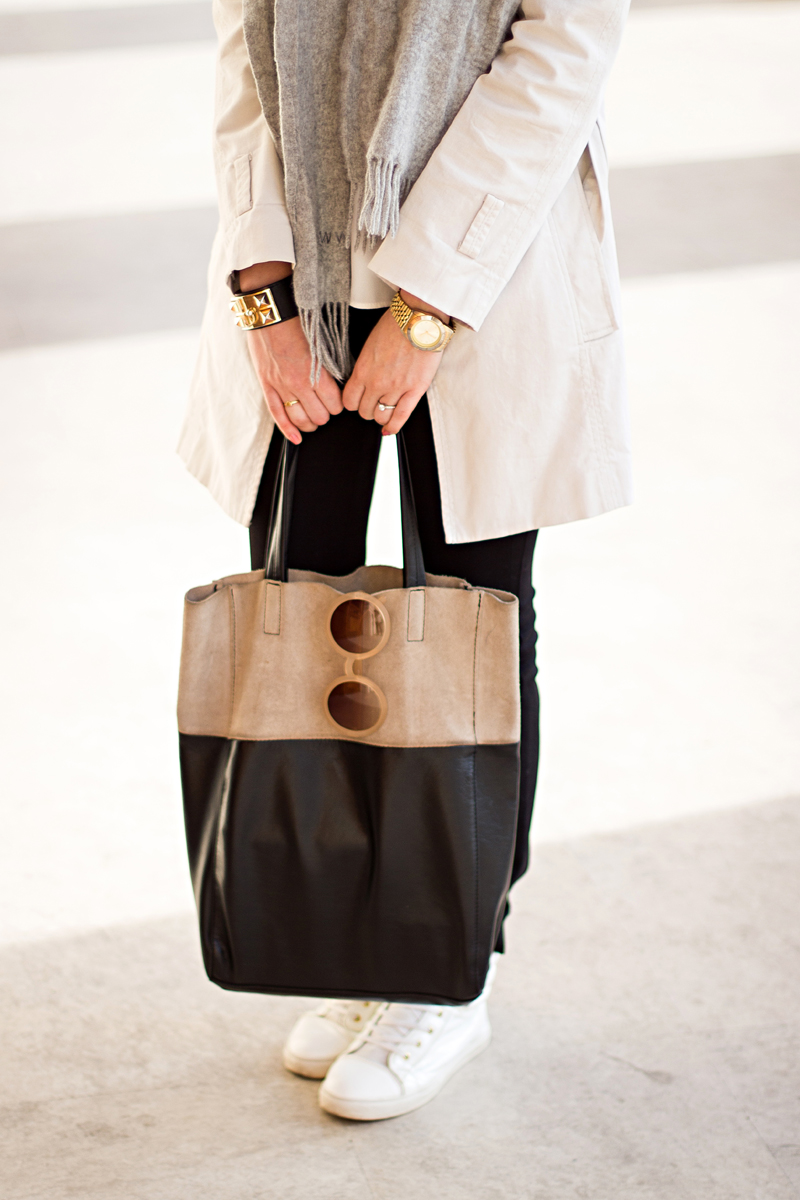 The Mysterious Girl Wearing Zara Pants Trench and Blouse H&M tote bag River Island sneakers
