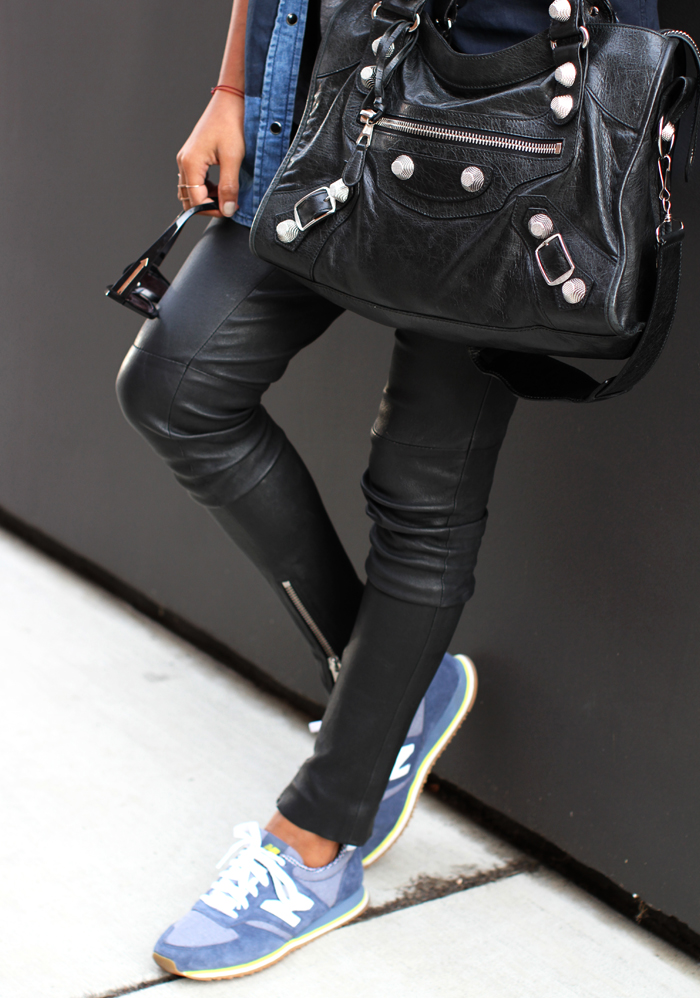 Leather skinnies From Anine Bing Sneakers From New Balance And Balenciaga Bag Worn By Jules
