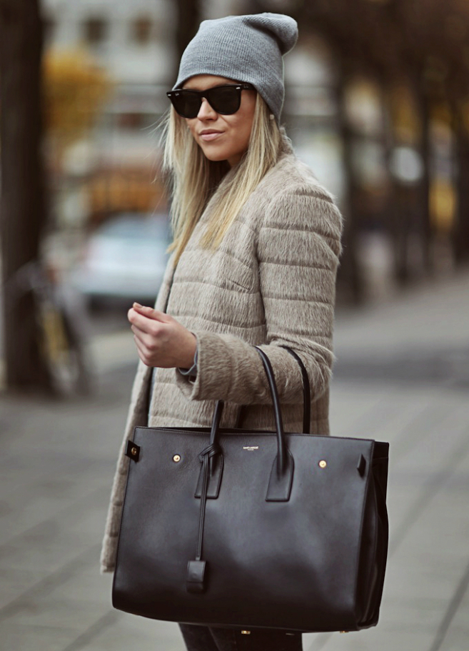 Swedish Linda Is Wearing Coat From French Connection Knitwork From COS Beanie From H&M And A Classic Saint Laurent Bag