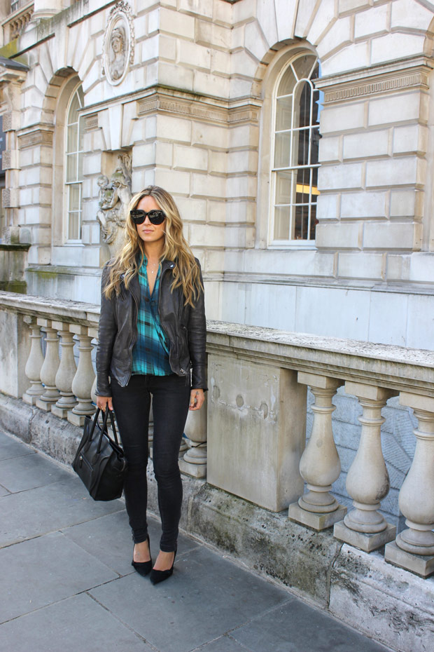 A Fashion Love Affair Wearing Windsor Shirt Anine Bing Sunglasses & Jeans Muubaa Jacket ALDO Pumps Celine Bag