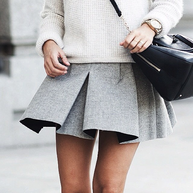Grey Miniskirt Street Style Unknown Photographer/Model