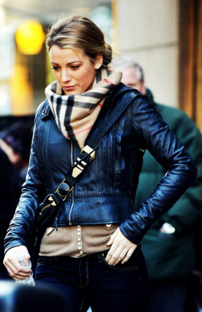 Blake Lively In Leather Jacket Camel Combo Street Style Unknown Photographer