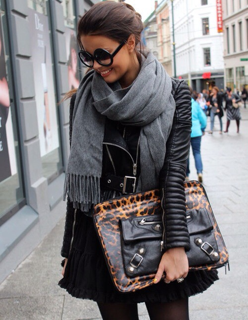 Love The Scarf Leather Jacket Leopard/Leather Purse Combo Via It's On Bitch