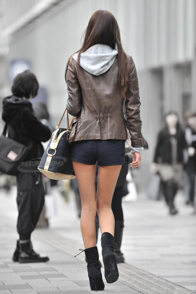 Hoodie, Leather Jacket, Shorts. Nice Combination. Photographer/Model Unknown