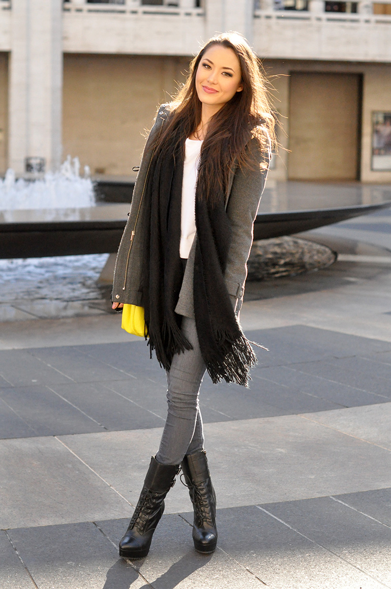 Hapa Time Wearing BCBG toggle Coat, Marc Jacobs Bag, GJG Denim jeans, Bebe Boots, Charlotte And Russe scarf