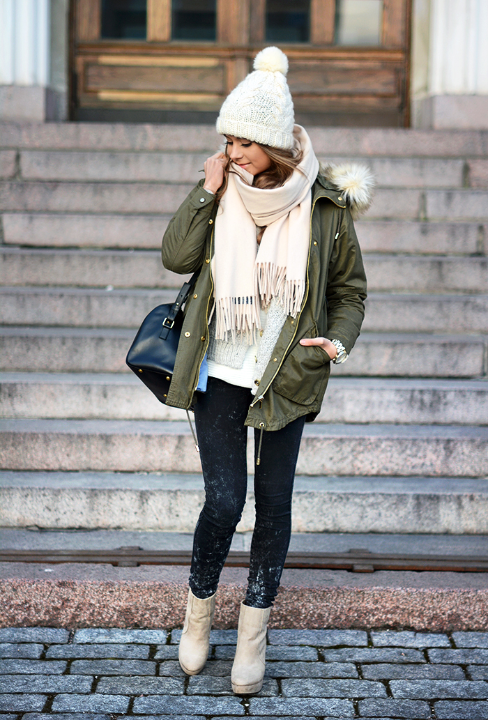 Fashion Blogger Marianna Is Wearing A Jacket Zara Spring / Summer 2014, Jeans Are BikBokBy Marianna (Also BikBok Shoes) Hat H&M Scarf Acne Bag Saint Laurent