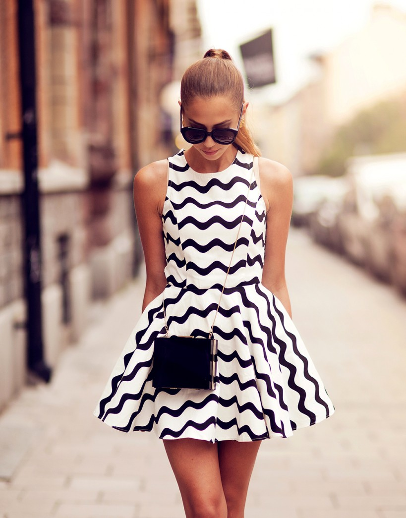 Swedish Kenza In Dress From Nasty Gal, Clutch from Chicy, Shoes From Zara And Karen Walker Sunglasses