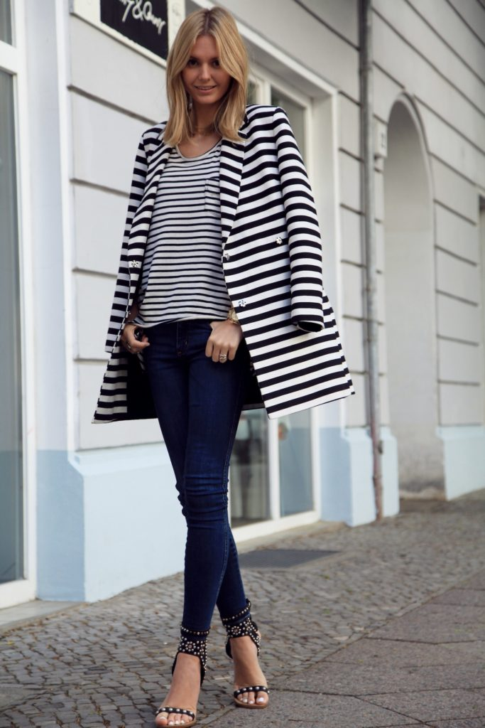 Jessica Stein of Tuula Vintage Wearing Isabel Marant Studded Sandals Striped Tee, Blazer and a Proenza Schouler Handbag