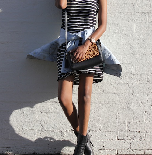 Vydia Rishie Wearing A Striped Dress From Cotton On, Denim Jacket From Cheap Monday, Bag From The Bag Department And Shoes From Tony Bianco