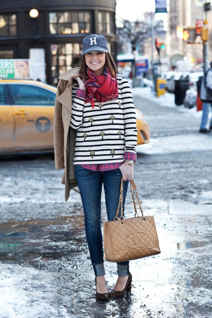 Caroline Harper Is Wearing A Striped Top Jeans From Rag & Bone Shoes And Coat From J.Crew