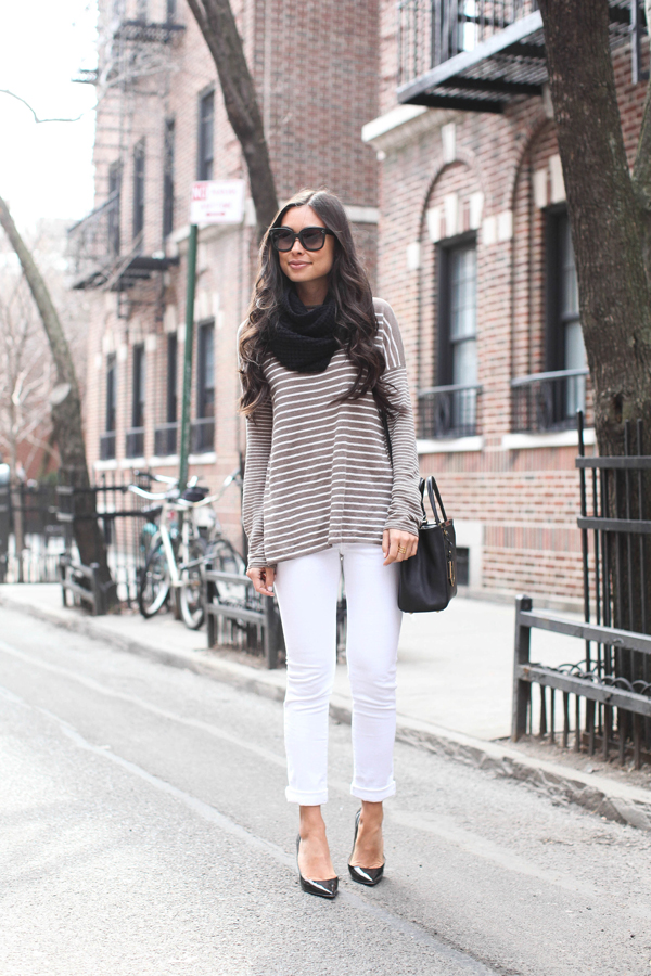 With Love From Kat Wearing Vince Striped Sweater, James Jeans, J.Crew Scarf,  Michael Kors Watch And Fendi Bag