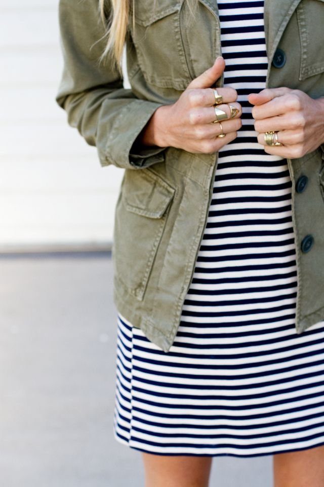 Sarah Sherman Samuel Wearing Striped Dress by Madewell And Military Style Jacket By Madewell