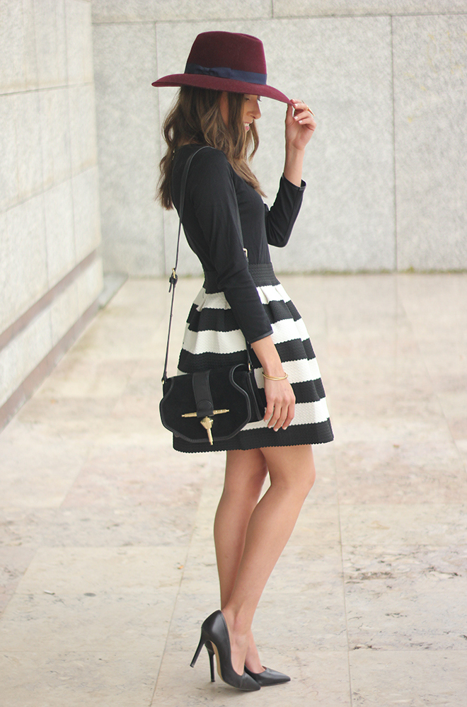 Be Sugar And Spice Wearing Striped Dress From Sheinside, Hat From Globe Bolso And A Simple Zara Bag