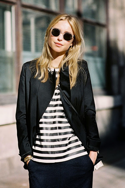 Pernille In A Striped Jumper Caught By Vanessa Jackman At London Fashion Week 2014