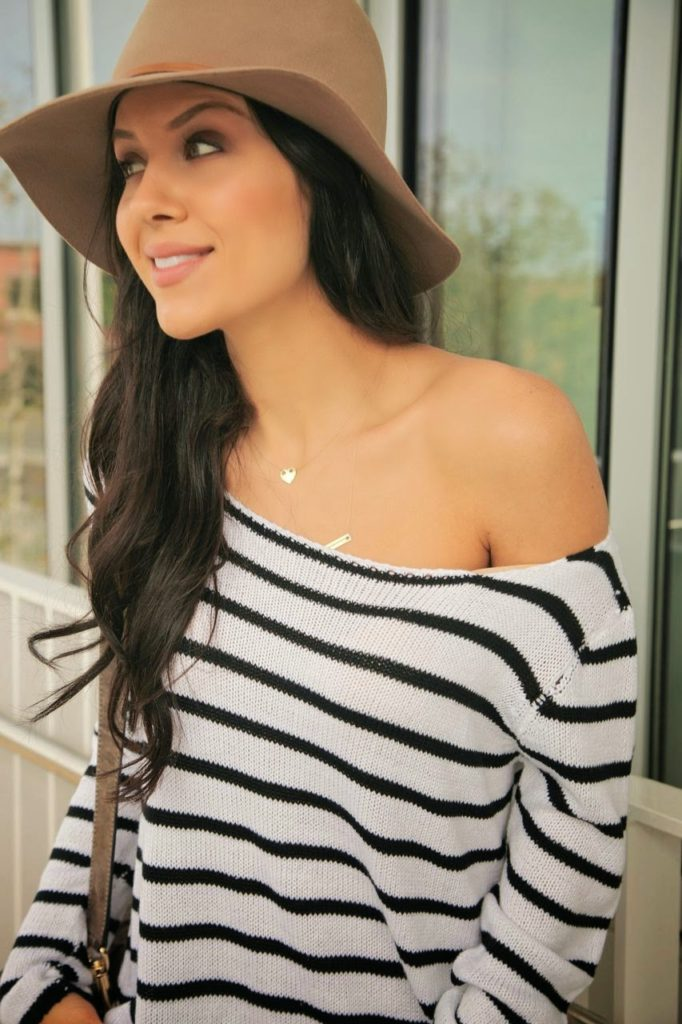 Andee Layne Wearing Striped Knit Top From Windsor and Janessa Leone Fedora