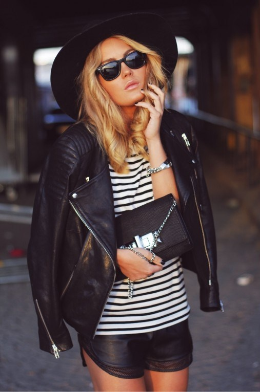 Angela Blick In Leather And Stripes