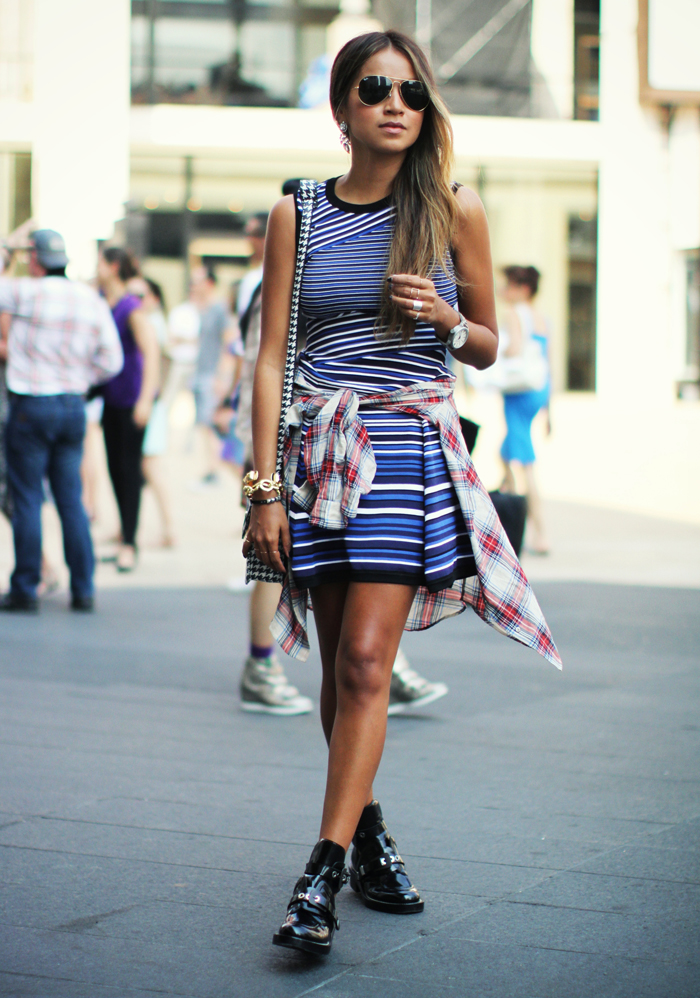 Sincerely Jules Wearing Striped Dress