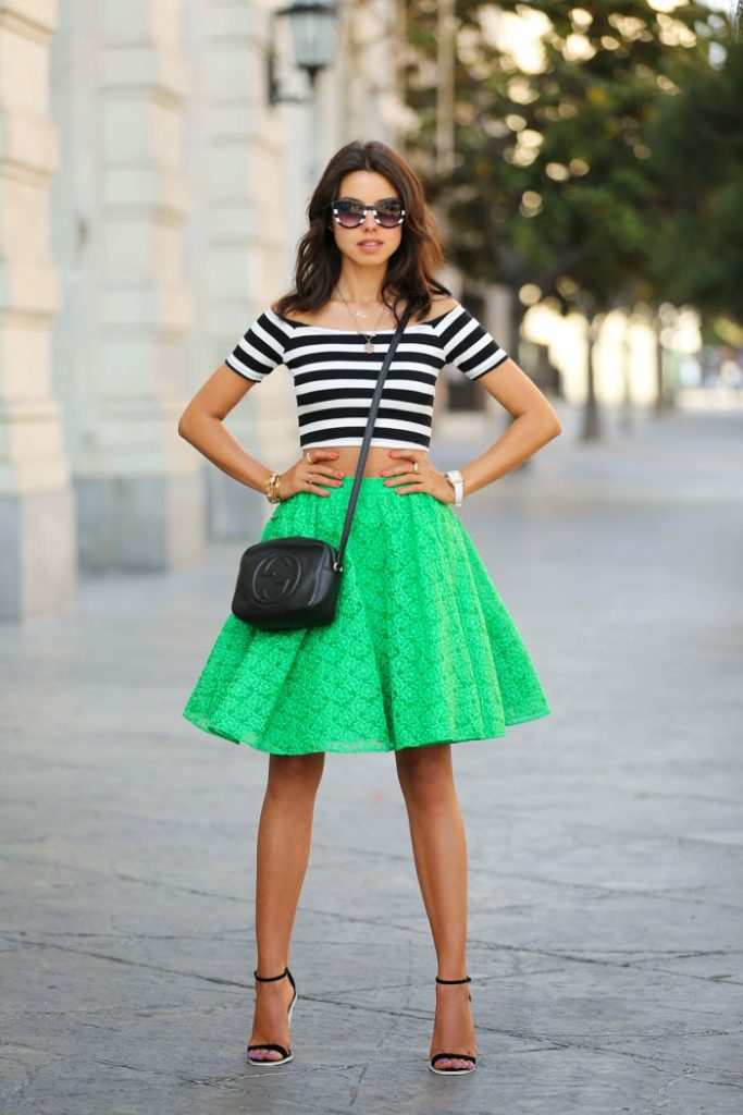 Viva Luxury Wearing Skirt From Alice + Olivia, Striped Crop Top, And Shoes From ASOS