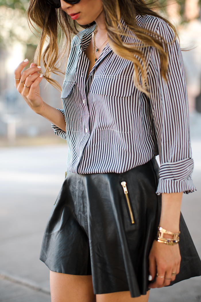 Song Of Style Wearing Striped Button Down Shirt From Equipment And A Leather Flare Skirt