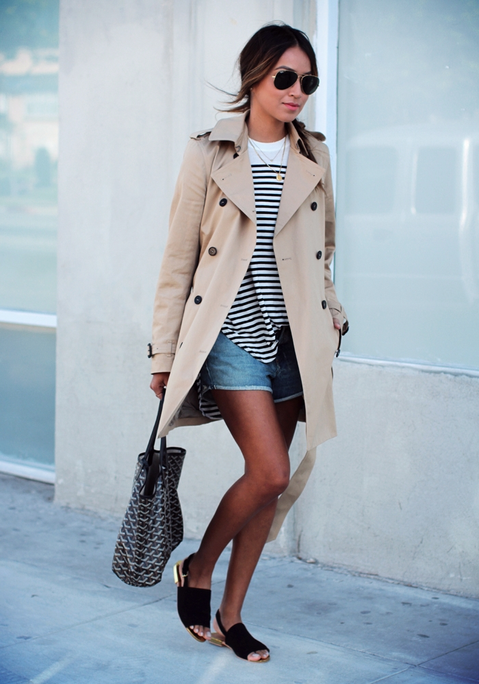 Sincerely Jules Is Wearing A Beige Trench Coat From Babaton, Striped T-Shirt From Wilfred, Shorts From Rag & Bone, Shoes From & Other Stories And Handbag From Goyard