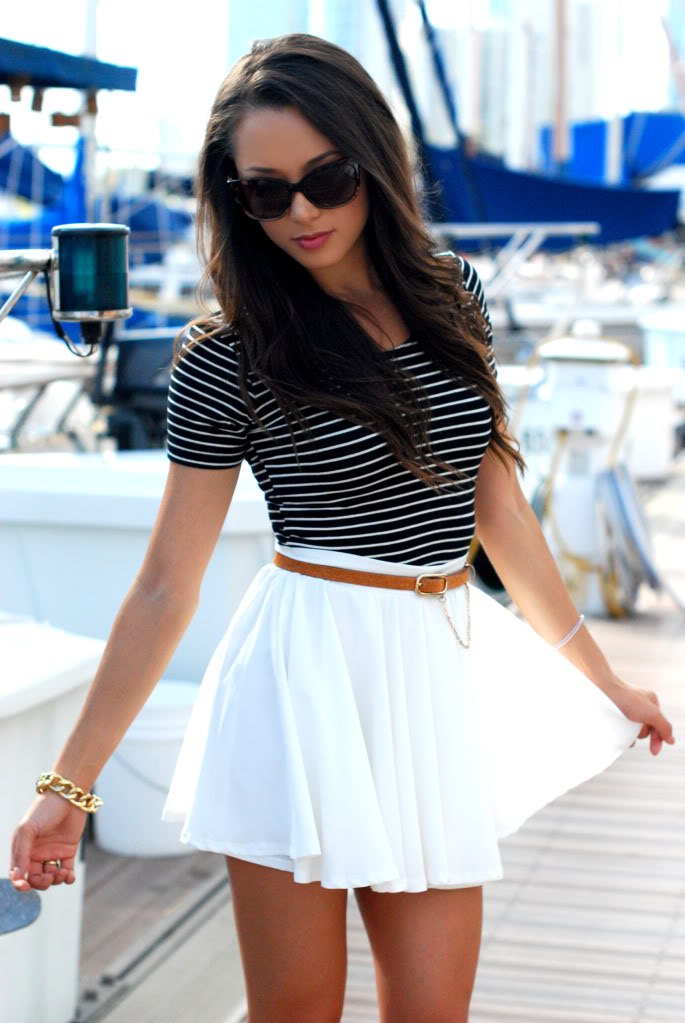 HapaTime Is Wearing A White Skirt From Romwe, Striped Top From American Apparel, Brown Belt From Oasap