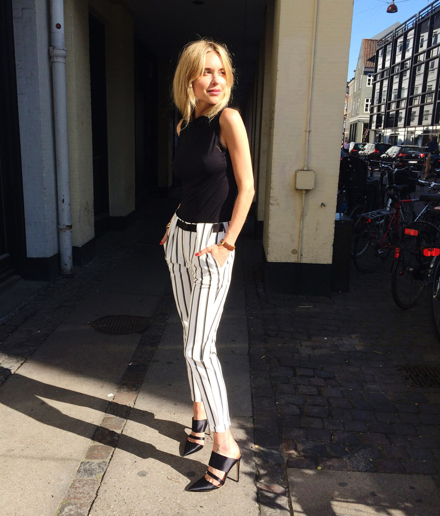 Pernille Teisbaek Is Wearing Striped Trousers From Zara