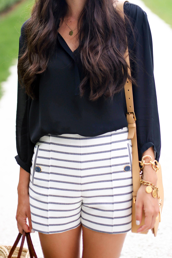 Katelyn Tanita is wearing blue and white striped shorts from Zara and blouse from Otte