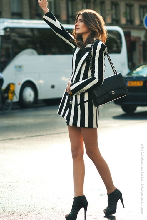 Allison Kadoche In Striped Jacket Via Citizen Couture