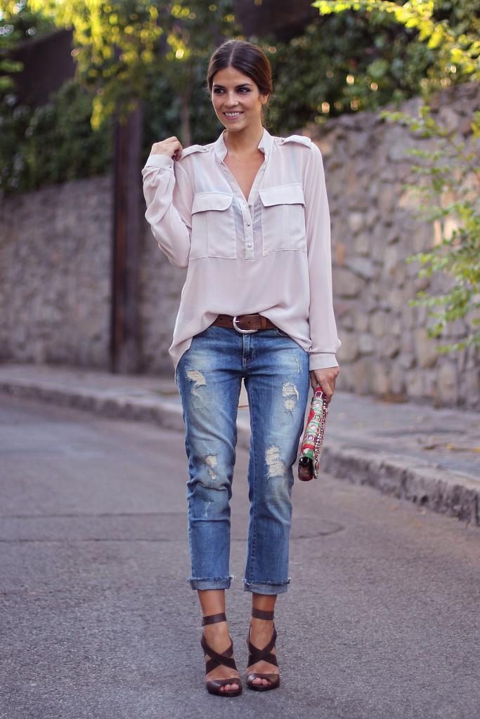 Trendy Taste In Distressed Jeans, Shirt From SW Paris-Buylevard, And Clutch From Adamarina
