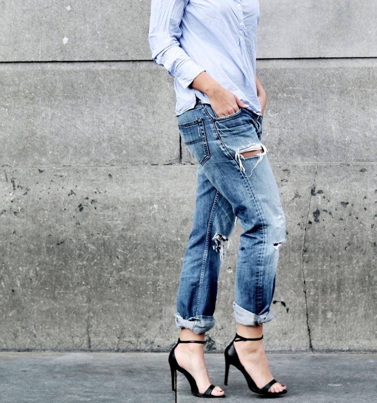Anna Rike Wearing Ripped Jeans From Tommy Hilfiger, Shirt From Massimo Dutti And Zara Shoes