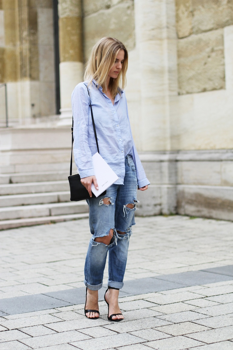 Mija Is Wearing Blue Shirt And Ripped Jeans From H&M, Trio Bag From Celine