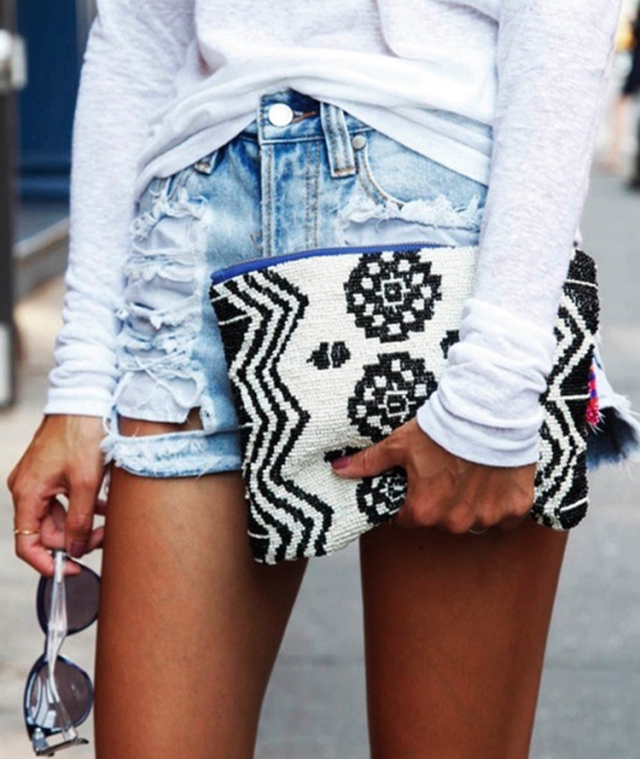 Ripped Denim Shorts And Monochrome Purse Via Scent Of Obsession