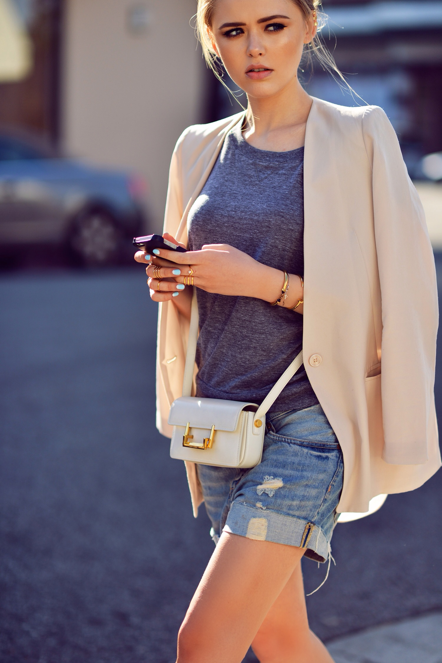 Kristina Bazan Wearing Top From Nations, Blazer From Minusey, Michael Kors Shoes And Distressed Boyfriend Denim Shorts From H&M Bag From Saint Laurent
