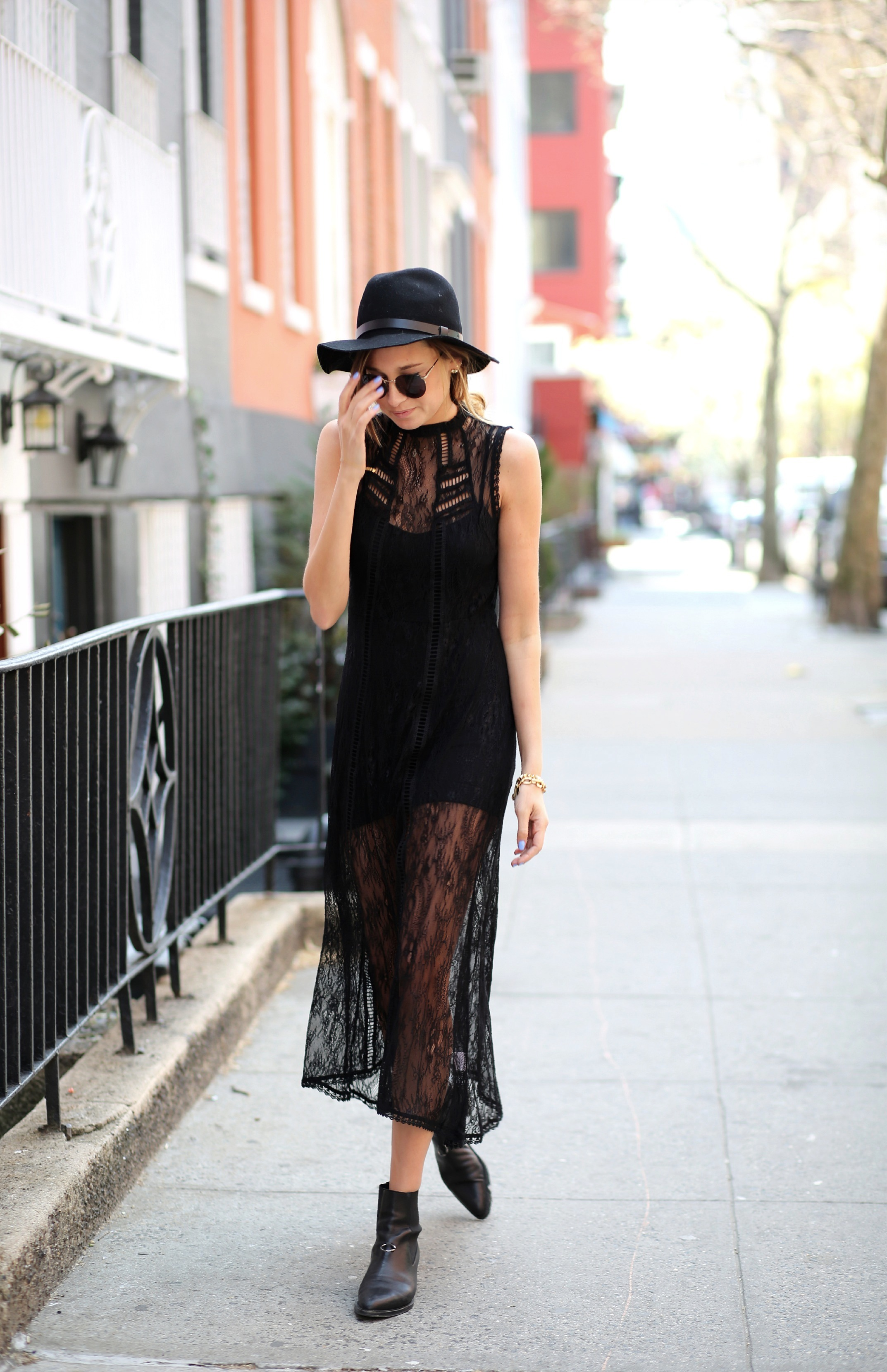 We Wore That Wearing A Black Lace Dress From Pixie Market And Matching Hat From TopShop