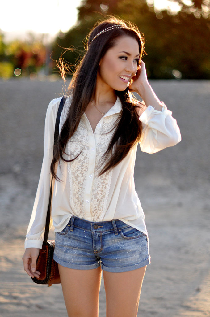 HapaTime Is Wearing A Lace Blouse From DKS And Denim Shorts From Abercrombie & Fitch