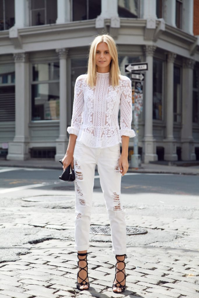 Jessica Stein Is Wearing Lace Top From Lover, Denim Jeans From Nobody, Shoes From Windsor And Clutch From Clare Vivier