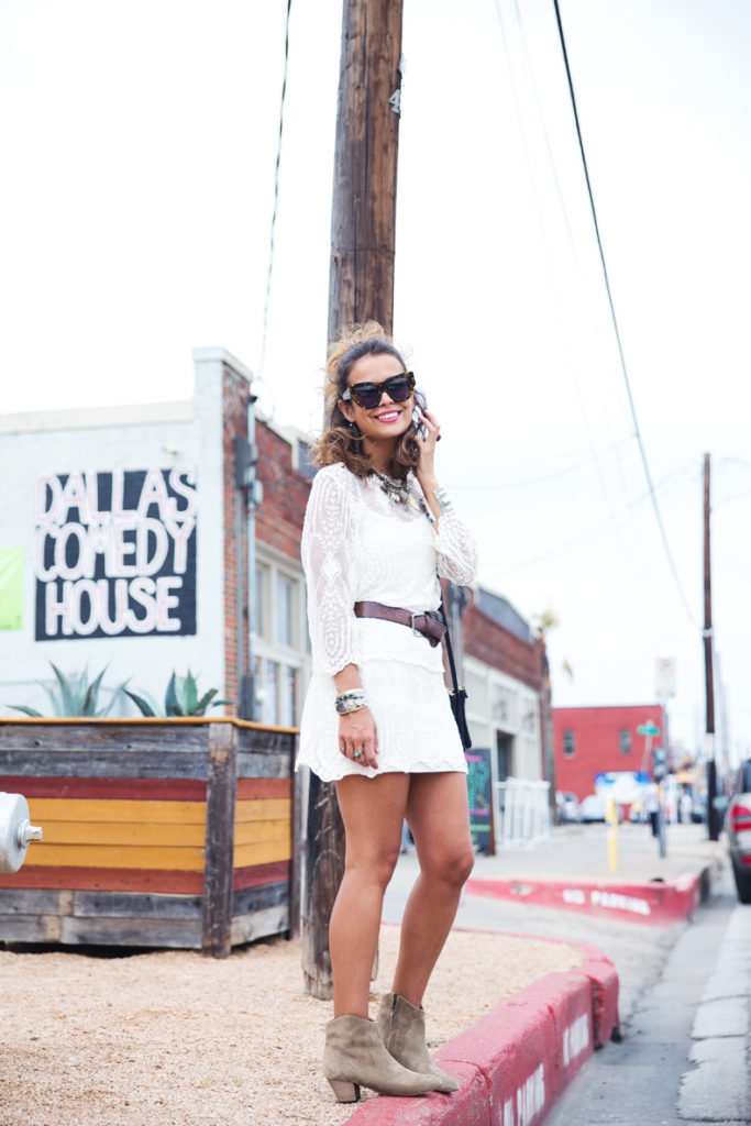 Collage Vintage Is Wearing A White Vintage Lace Dress, Boots From Isabel Marant, Bag From Céline And Sunglasses From Karen Walker