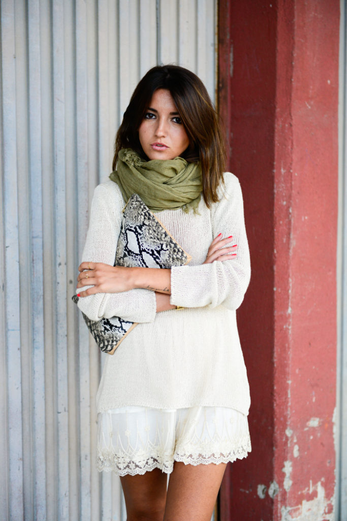 Alexandra Pereira Is Wearing A White Lace Skirt From Strena, A Jumper From Anine Bing And A Bag From Dayaday