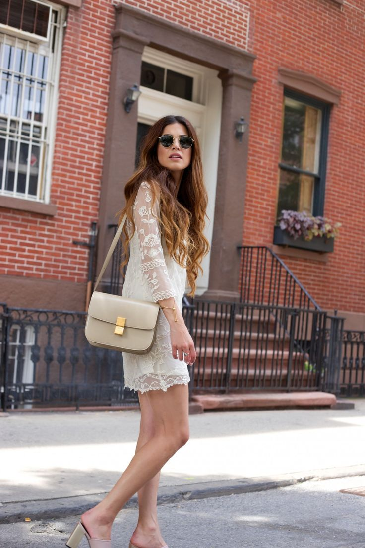 Negin Mirsalehi Is Wearing An Embroidered Tulle Lace Dress