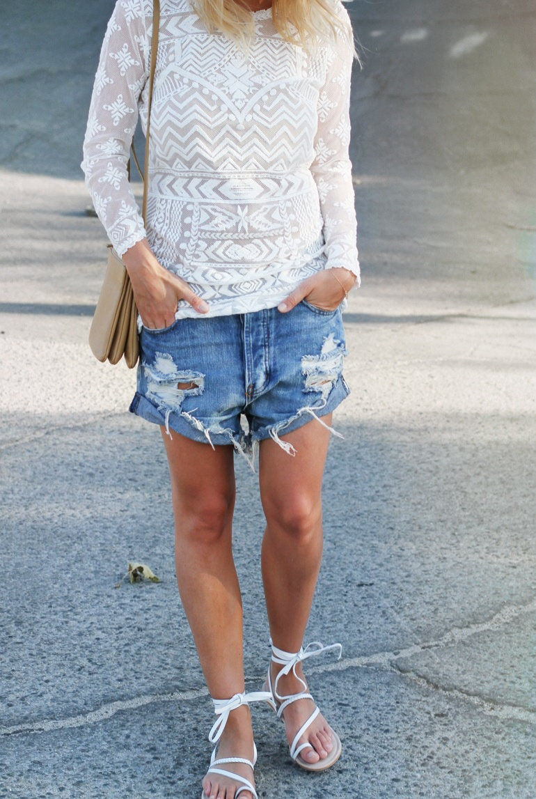 Mija is wearing a white embroidered lace top from Isabel Marant Pour H&M, denim cut-offs from One Teaspoon, bag from Celine and white sandals from ASOS