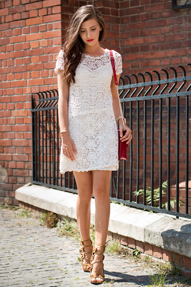 Larisa Costea is wearing a white floral print lace dress from Prada, shoes from Choies