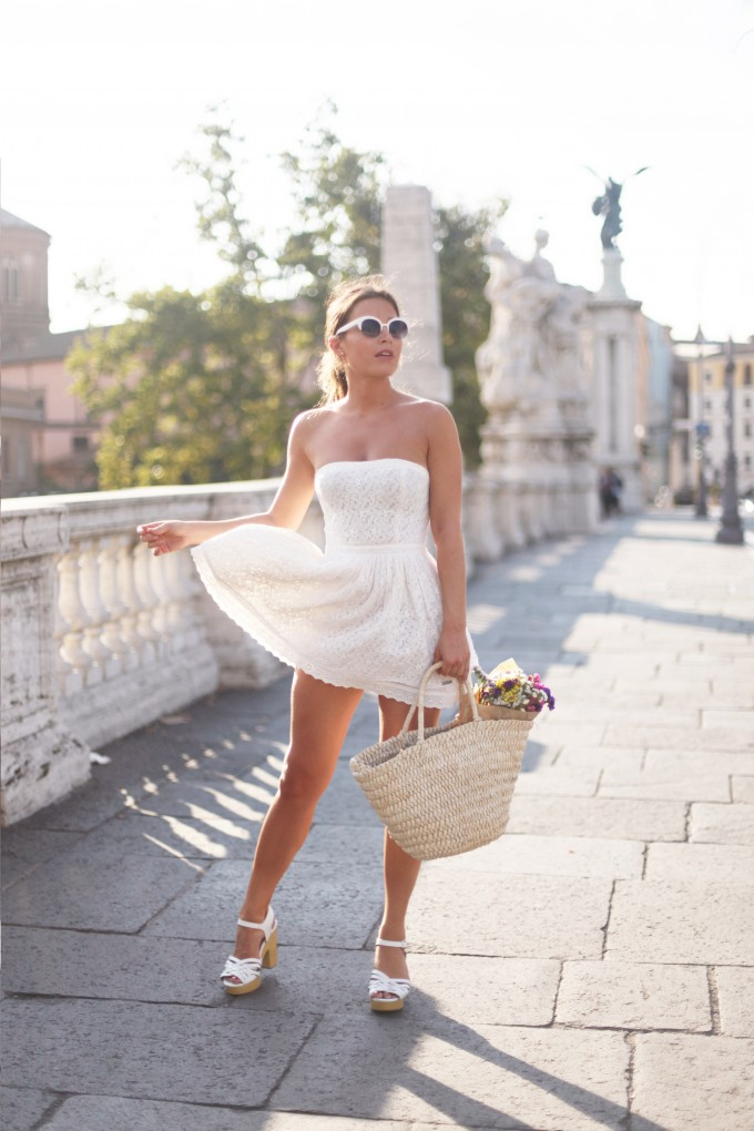 Audrey Leighton is wearing a dovecote lace dress from SuperDry50, sandals from Primark, basket bag from Damart and sunglasses from Fashion Pills