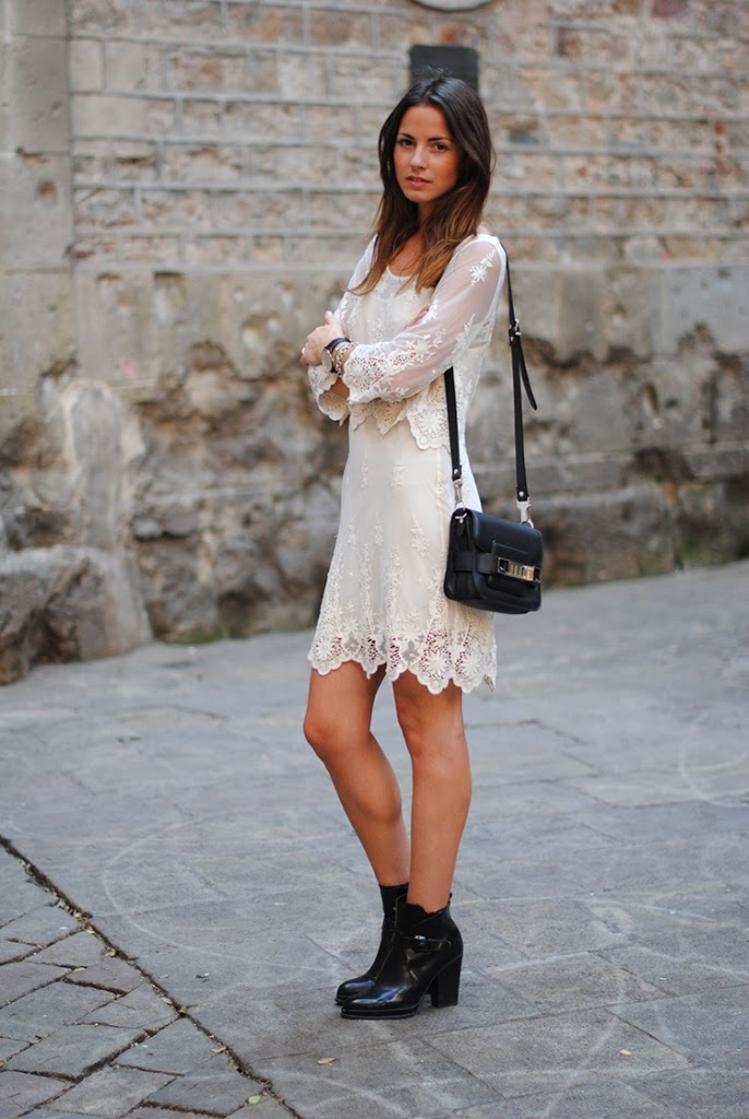 FashionVibe Is Wearing Lace Summer Dress And Boots From Zara, Bag From Proenza Schouler