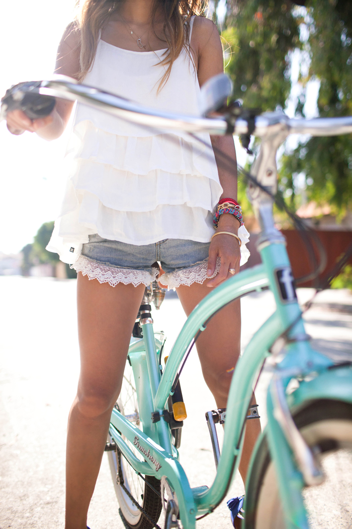 Song Of Style Is Wearing Cami From Insight Liberty, Lace Cut-off Shorts From Free People